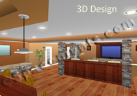 This is a 3-D basement remodeling design of the finished basement before it was built.