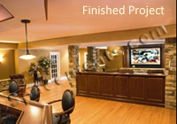 This is the final finished basement remodeling project built by Spacements, Inc.